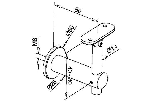 Handrail bracket for flat toprail adjustable