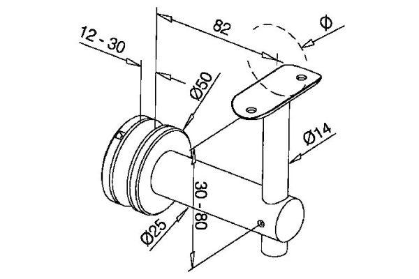 Glass Handrail bracket for round toprail