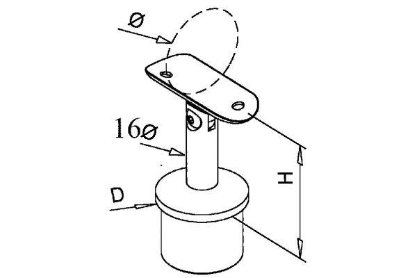 Toprail support round adjustable