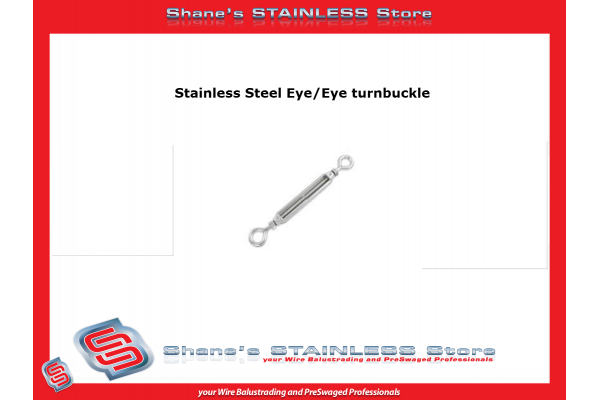 Stainless Steel Bottlescrew Eye/Eye Turnbuckle 316 Marine Grade 5mm