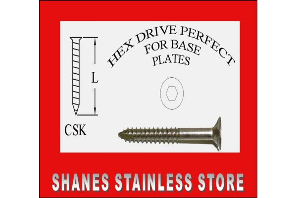 Stainless Steel Countersunk Baten Screws 14Gx50mm Box 250 - Free drive bit included.