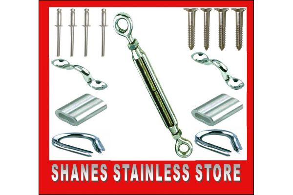 Stainless Steel Balustrading DIY Kits - Eye/Eye Turnbuckle/Saddle.
