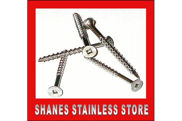 Stainless Steel Square Drive Decking Screws 8 gauge x 38mm Box 500.