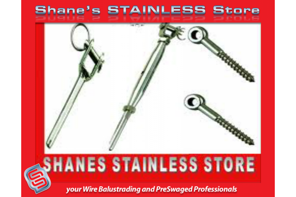 Stainless Steel PreSwaged Wire Kits with Lag Screws.