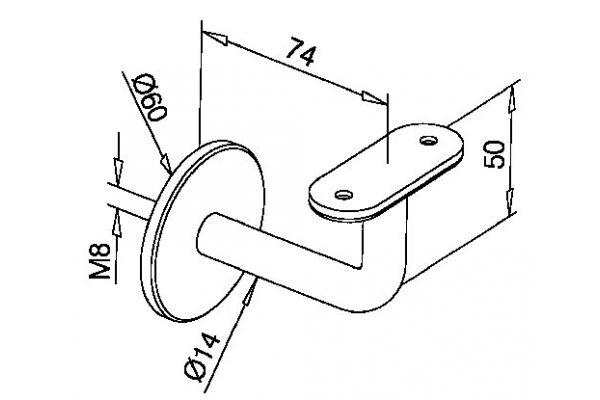 Handrail bracket for flat toprail small